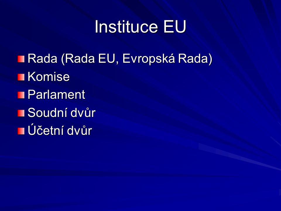 Instituce EU Rada (Rada EU, Evropská Rada) KomiseParlament Soudní dvůr Účetní dvůr