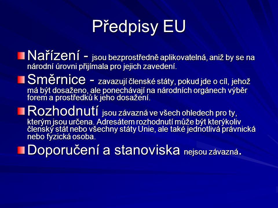 Předpisy EU Nařízení - jsou bezprostředně aplikovatelná, aniž by se na národní úrovni přijímala pro jejich zavedení. Směrnice - zavazují členské státy