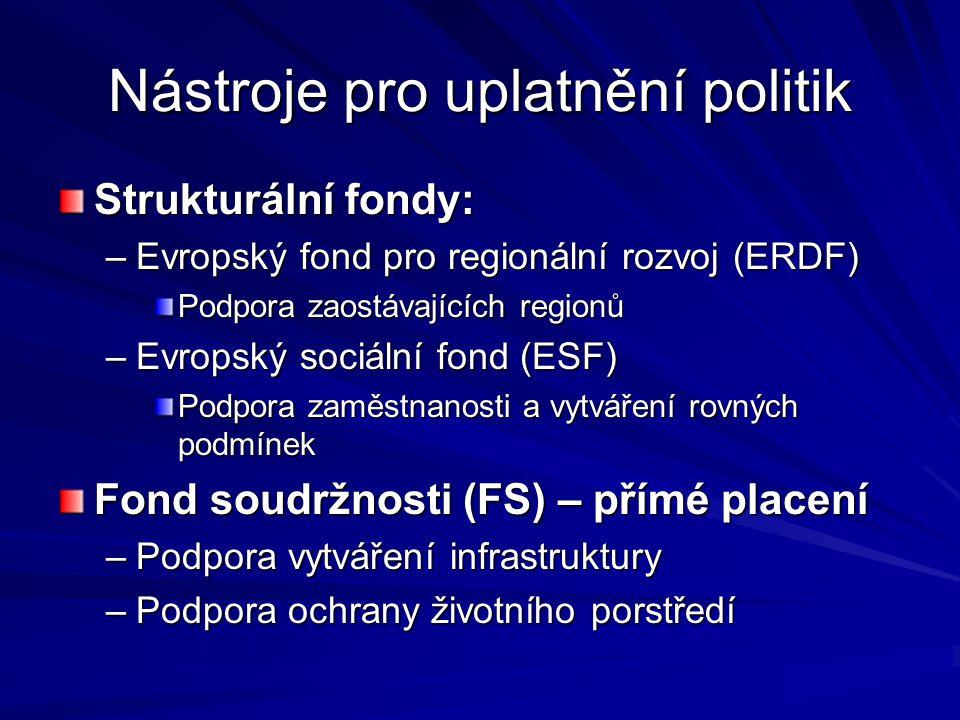 Nástroje pro uplatnění politik Strukturální fondy: Strukturální fondy: –Evropský fond pro regionální rozvoj (ERDF) Podpora zaostávajících regionů –Evr