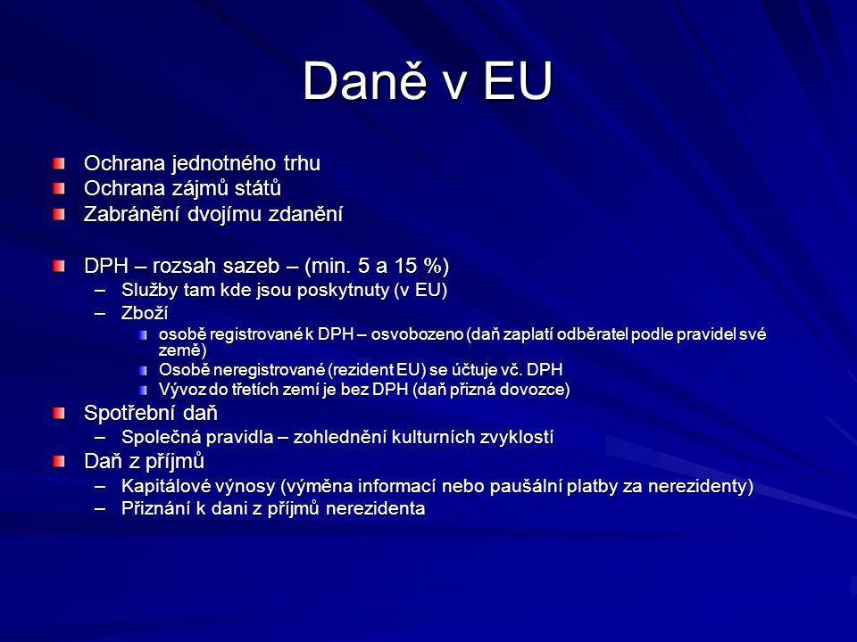 Daně v EU Ochrana jednotného trhu Ochrana zájmů států Zabránění dvojímu zdanění DPH – rozsah sazeb – (min. 5 a 15 %) –Služby tam kde jsou poskytnuty (