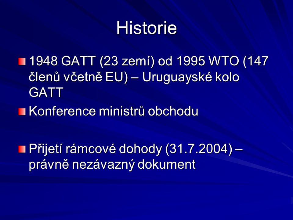 Historie 1948 GATT (23 zemí) od 1995 WTO (147 členů včetně EU) – Uruguayské kolo GATT Konference ministrů obchodu Přijetí rámcové dohody (31.7.2004) –