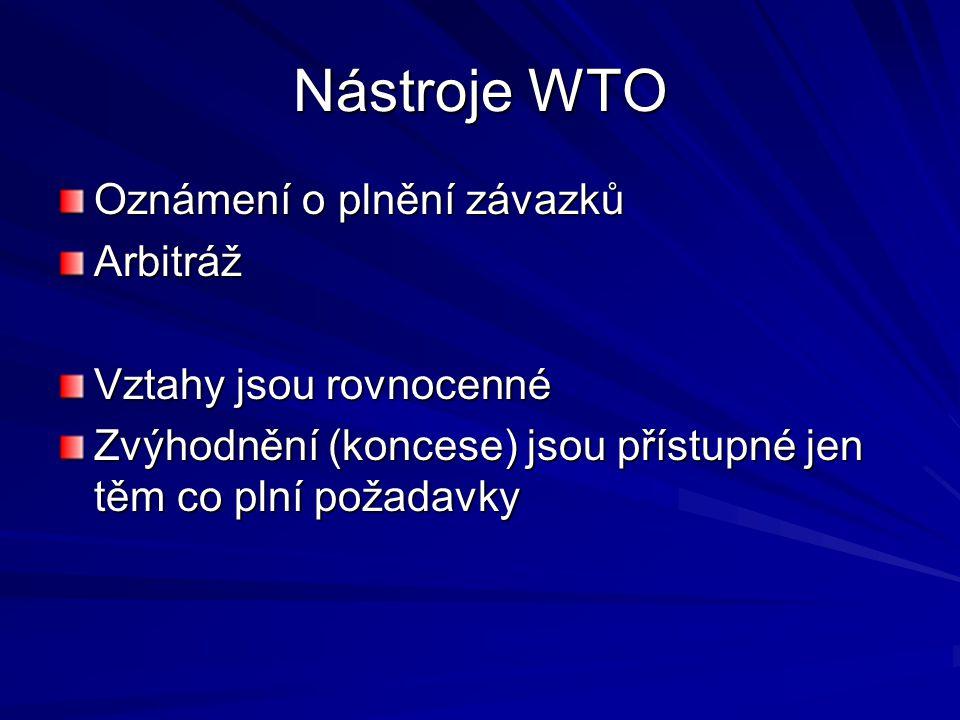 Nástroje WTO Oznámení o plnění závazků Arbitráž Vztahy jsou rovnocenné Zvýhodnění (koncese) jsou přístupné jen těm co plní požadavky