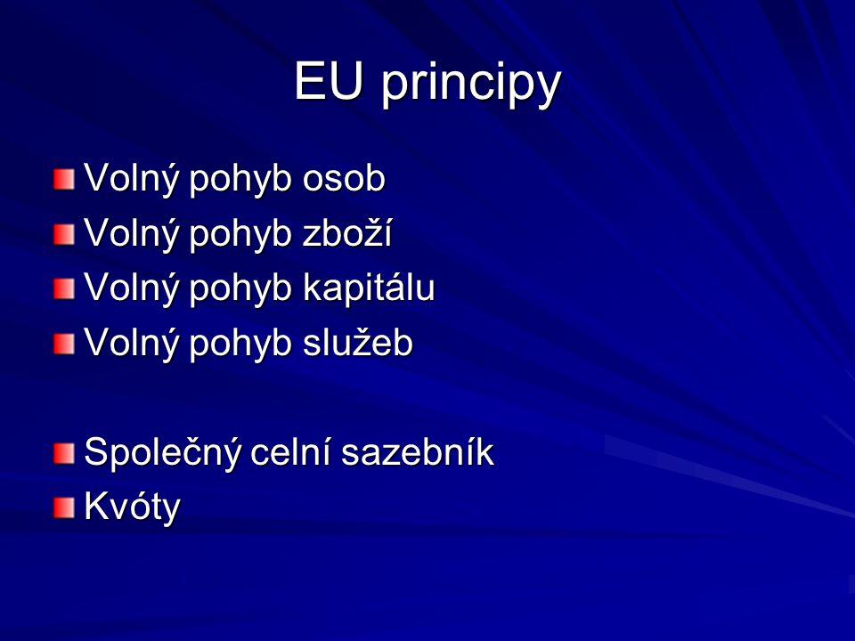 EU principy Volný pohyb osob Volný pohyb zboží Volný pohyb kapitálu Volný pohyb služeb Společný celní sazebník Kvóty