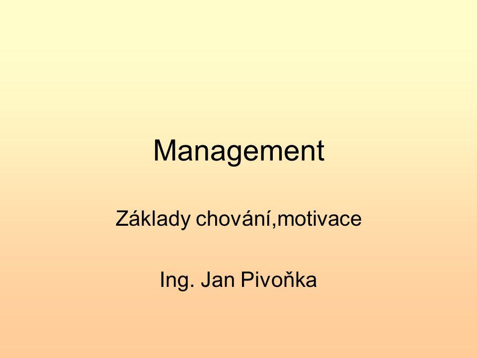 Management Základy chování,motivace Ing. Jan Pivoňka