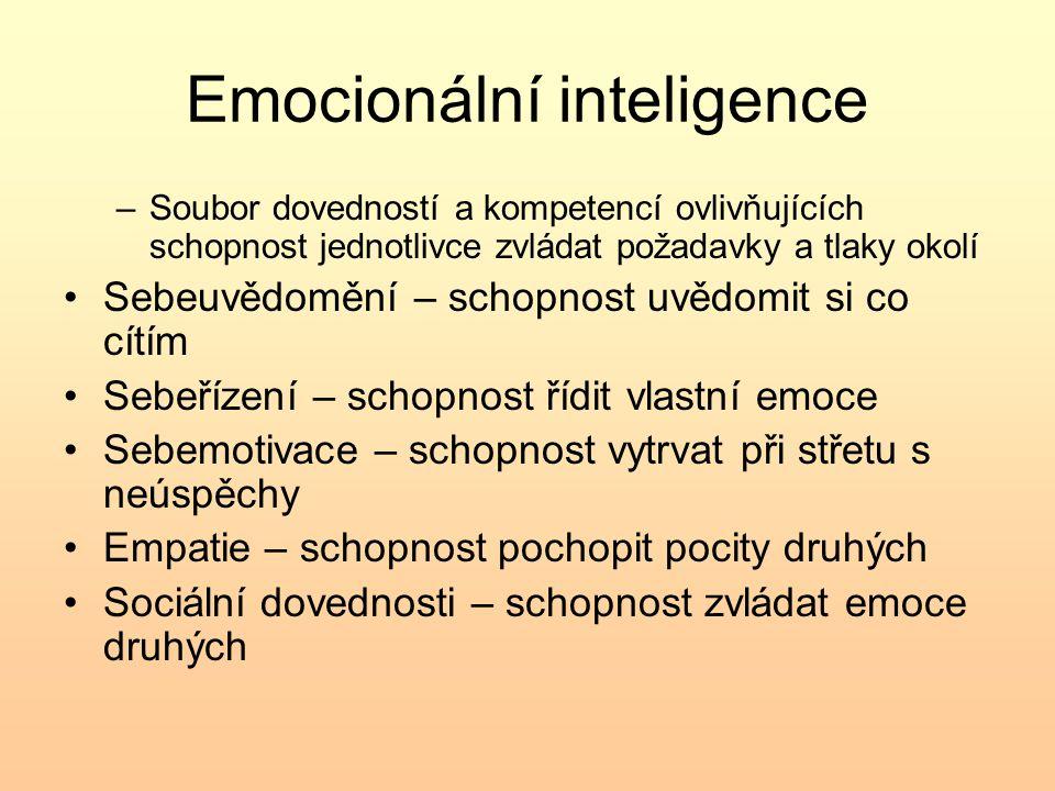 Emocionální inteligence –Soubor dovedností a kompetencí ovlivňujících schopnost jednotlivce zvládat požadavky a tlaky okolí Sebeuvědomění – schopnost