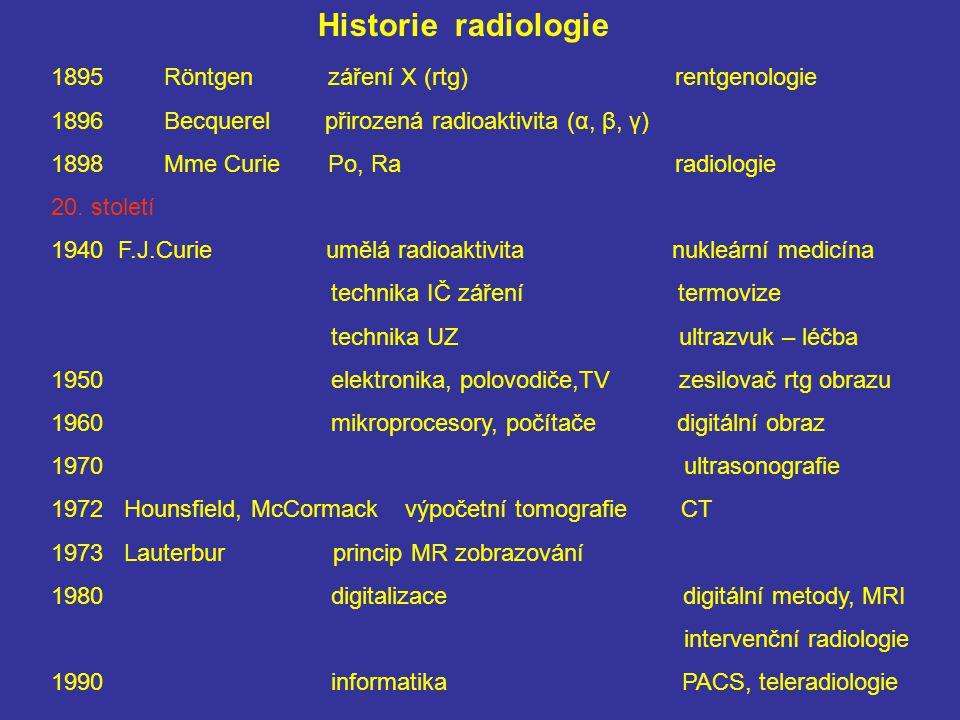 Historie radiologie 1895 Röntgen záření X (rtg) rentgenologie 1896 Becquerel přirozená radioaktivita (α, β, γ) 1898 Mme Curie Po, Ra radiologie 20.