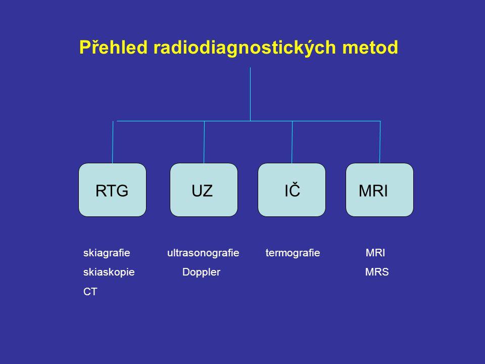 RTG UZ IČ MRI skiagrafie skiaskopie CT ultrasonografie termografie MRI Doppler MRS Přehled radiodiagnostických metod