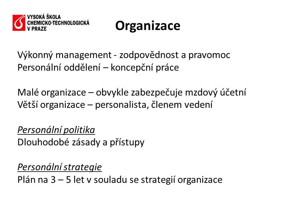 Výkonný management - zodpovědnost a pravomoc Personální oddělení – koncepční práce Malé organizace – obvykle zabezpečuje mzdový účetní Větší organizac