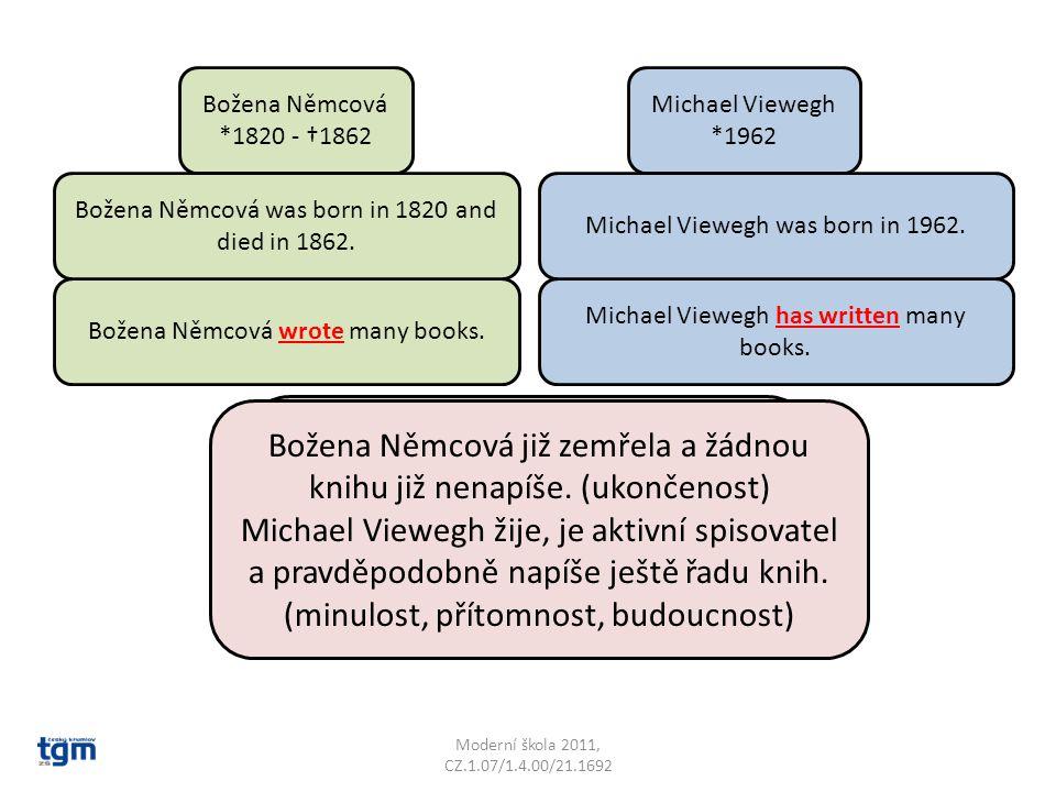 Božena Němcová *1820 - †1862 Michael Viewegh *1962 Božena Němcová wrote many books. Michael Viewegh has written many books. Zamysli se nad pravidly tě
