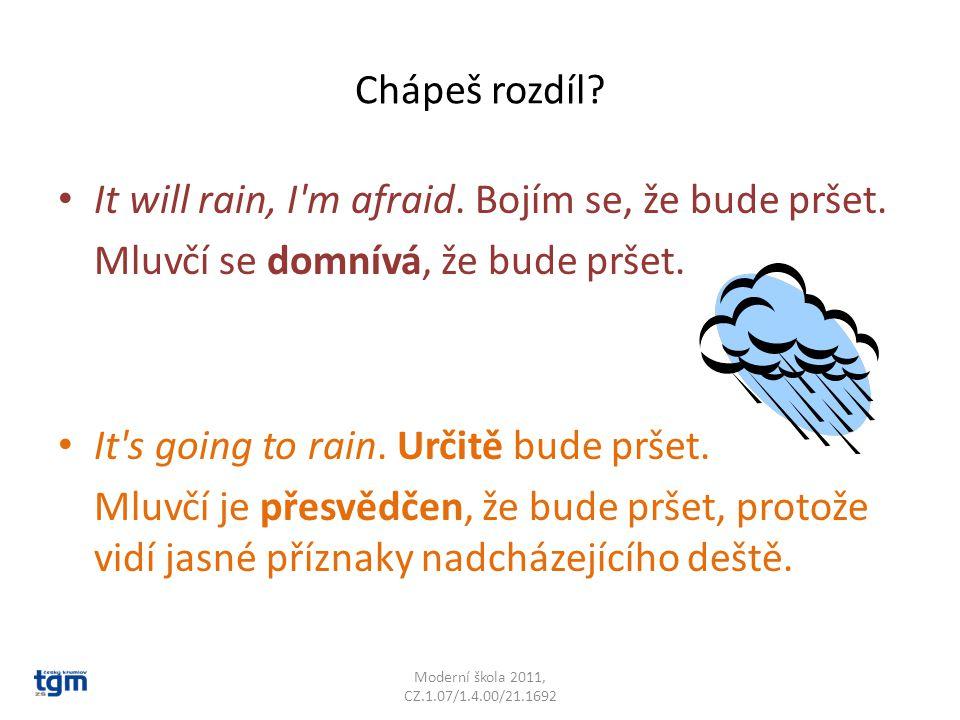 Chápeš rozdíl. It will rain, I m afraid. Bojím se, že bude pršet.