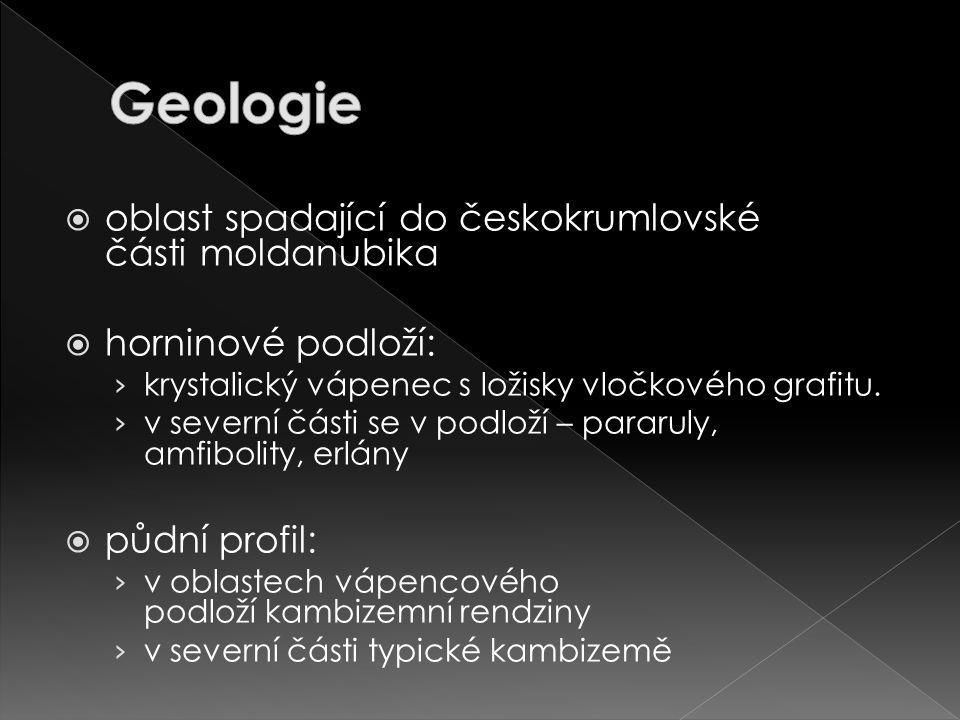  oblast spadající do českokrumlovské části moldanubika  horninové podloží: › krystalický vápenec s ložisky vločkového grafitu.