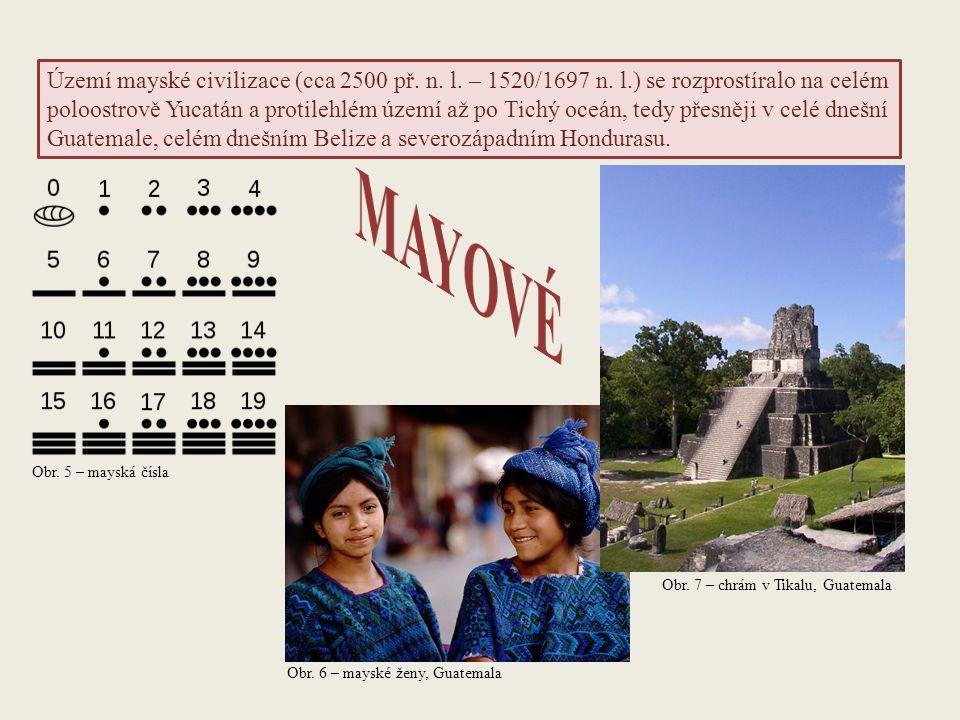 Území mayské civilizace (cca 2500 př. n. l. – 1520/1697 n. l.) se rozprostíralo na celém poloostrově Yucatán a protilehlém území až po Tichý oceán, te