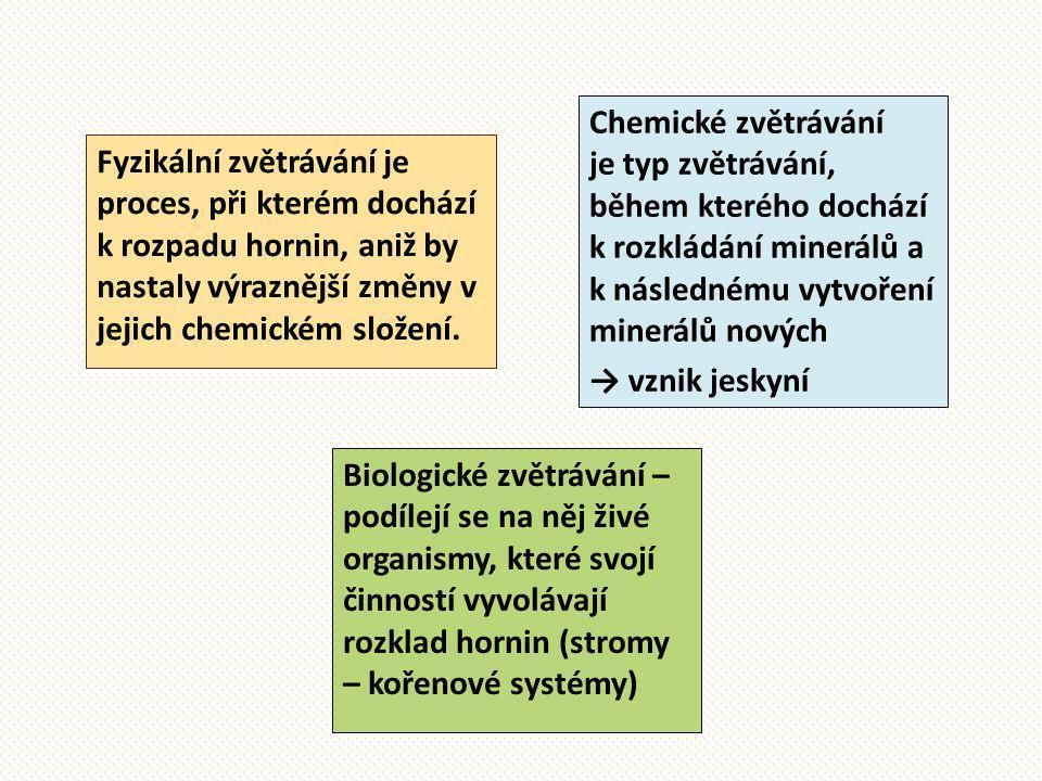 Činitelé: Slunce Vítr - obrušování Voda - omílání Mráz a teplo → popraskání horniny Rostliny (jejich kořeny horniny rozrušují) a organismy Lidé