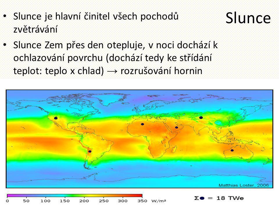 Slunce Slunce je hlavní činitel všech pochodů zvětrávání Slunce Zem přes den otepluje, v noci dochází k ochlazování povrchu (dochází tedy ke střídání