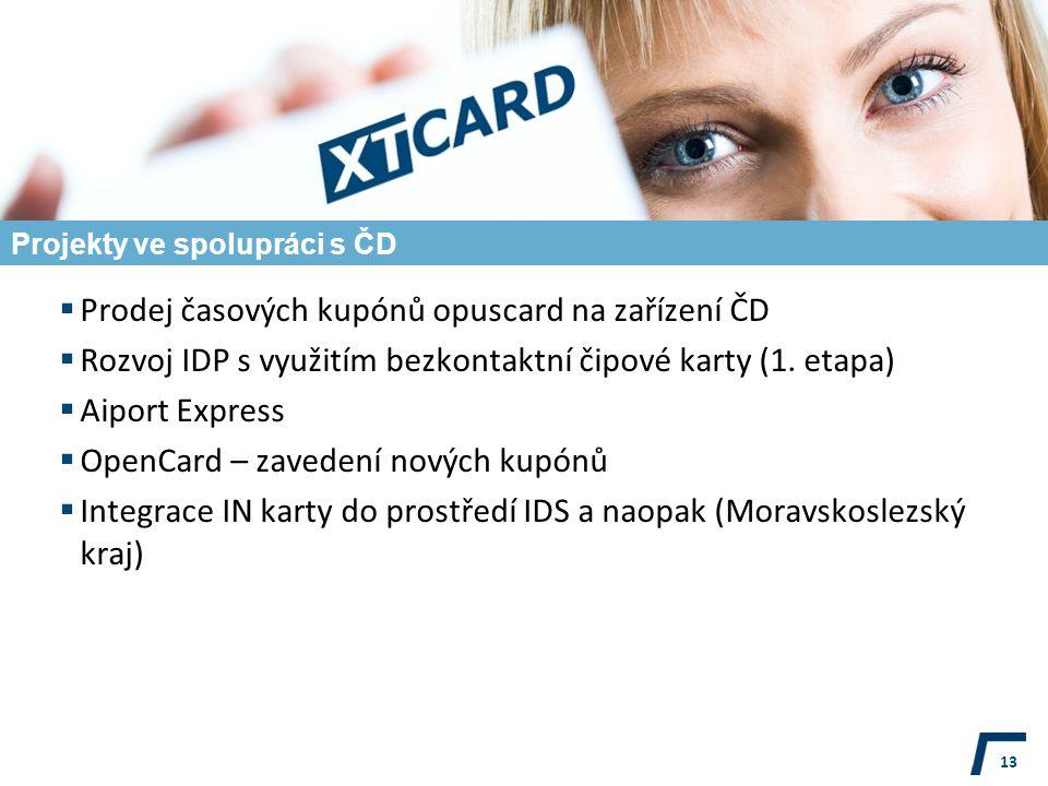 Projekty ve spolupráci s ČD  Prodej časových kupónů opuscard na zařízení ČD  Rozvoj IDP s využitím bezkontaktní čipové karty (1.