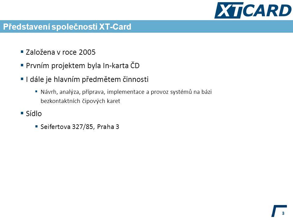 Představení společnosti XT-Card 3  Založena v roce 2005  Prvním projektem byla In-karta ČD  I dále je hlavním předmětem činnosti  Návrh, analýza, příprava, implementace a provoz systémů na bázi bezkontaktních čipových karet  Sídlo  Seifertova 327/85, Praha 3