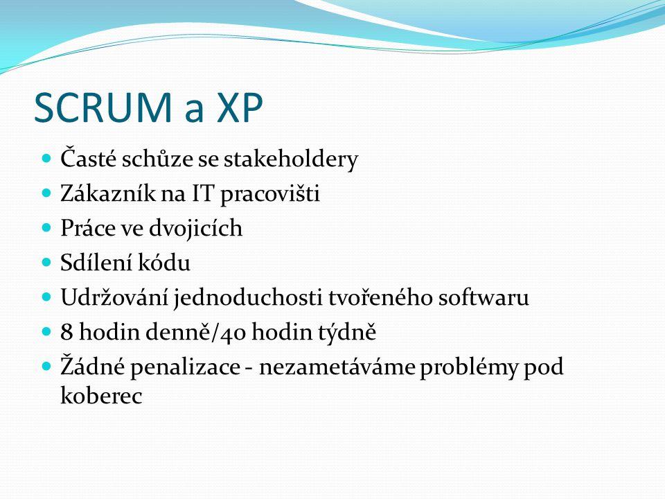 SCRUM a XP Časté schůze se stakeholdery Zákazník na IT pracovišti Práce ve dvojicích Sdílení kódu Udržování jednoduchosti tvořeného softwaru 8 hodin denně/40 hodin týdně Žádné penalizace - nezametáváme problémy pod koberec