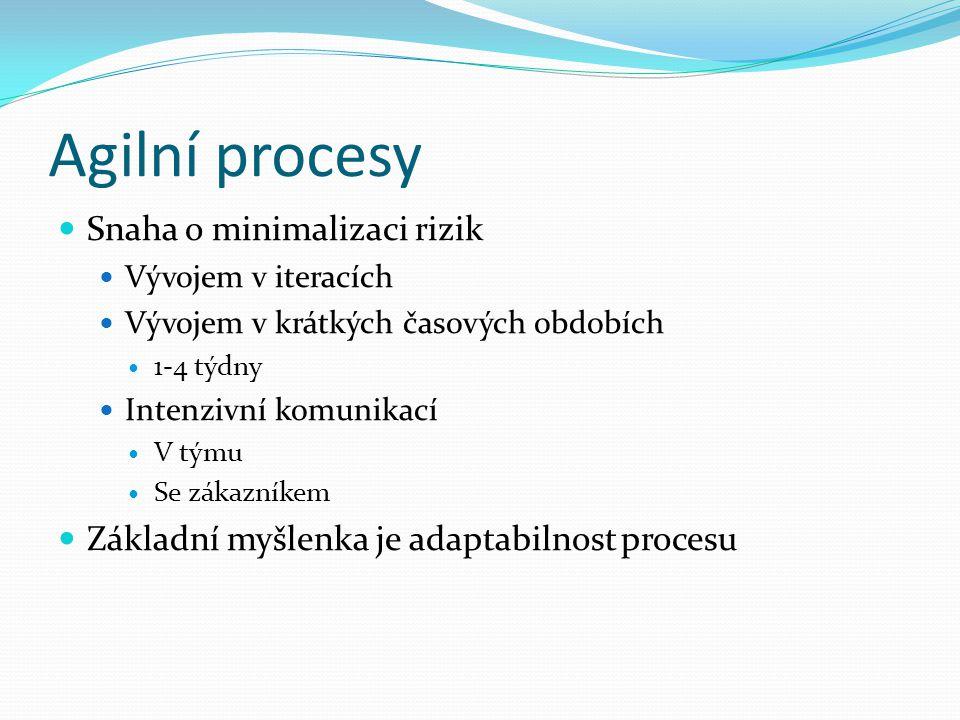Agilní procesy Snaha o minimalizaci rizik Vývojem v iteracích Vývojem v krátkých časových obdobích 1-4 týdny Intenzivní komunikací V týmu Se zákazníke