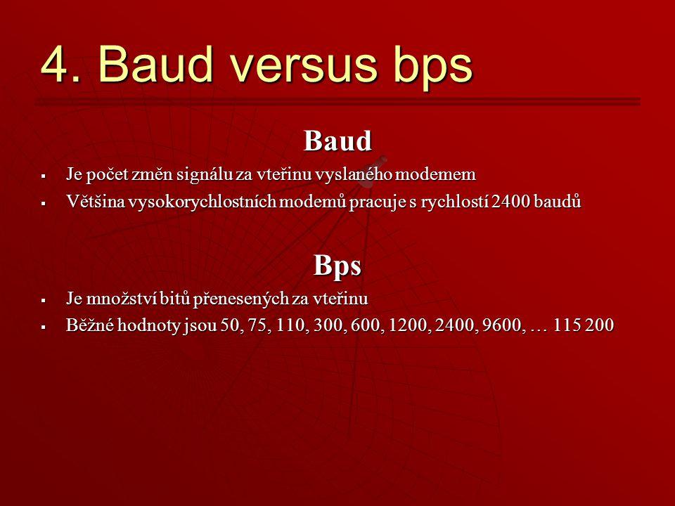 4. Baud versus bps Baud JJJJe počet změn signálu za vteřinu vyslaného modemem VVVVětšina vysokorychlostních modemů pracuje s rychlostí 2400 ba
