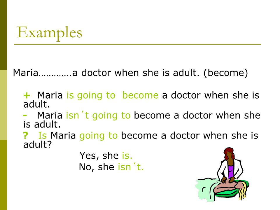 Examples Maria………….a doctor when she is adult.