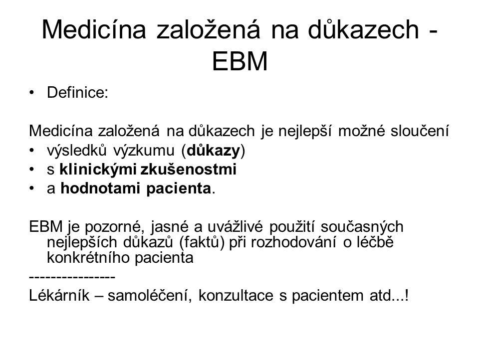 Medicína založená na důkazech - EBM Definice: Medicína založená na důkazech je nejlepší možné sloučení výsledků výzkumu (důkazy) s klinickými zkušenos