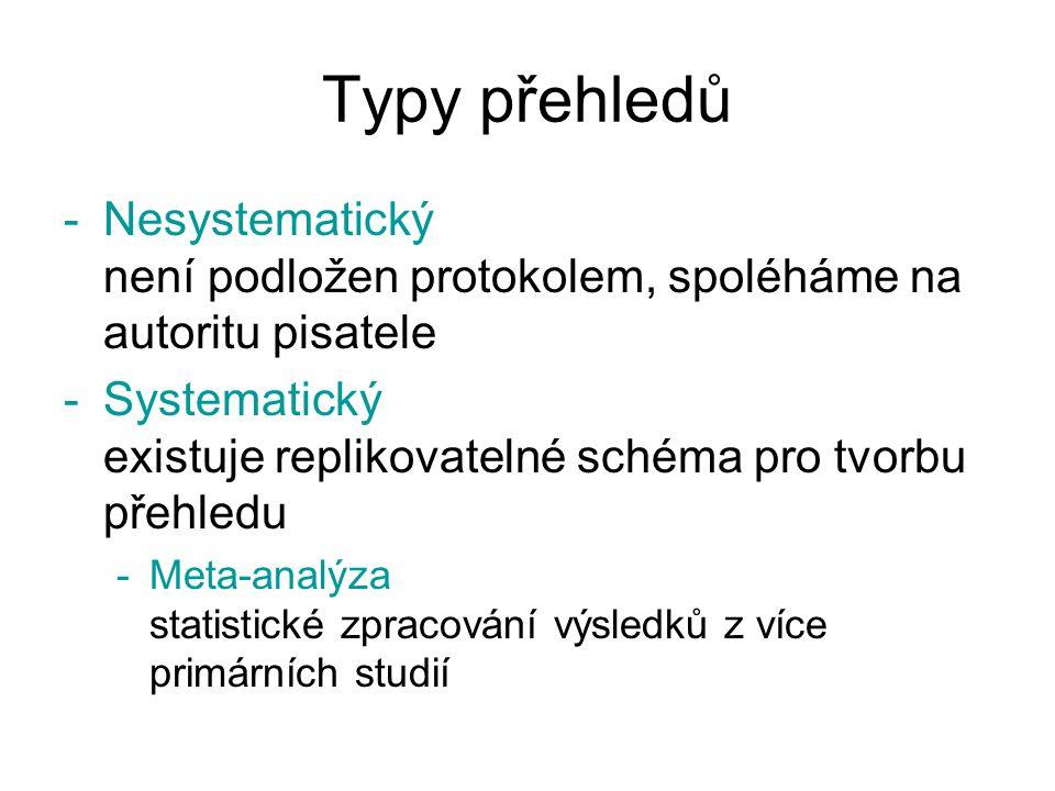 Typy přehledů -Nesystematický není podložen protokolem, spoléháme na autoritu pisatele -Systematický existuje replikovatelné schéma pro tvorbu přehled