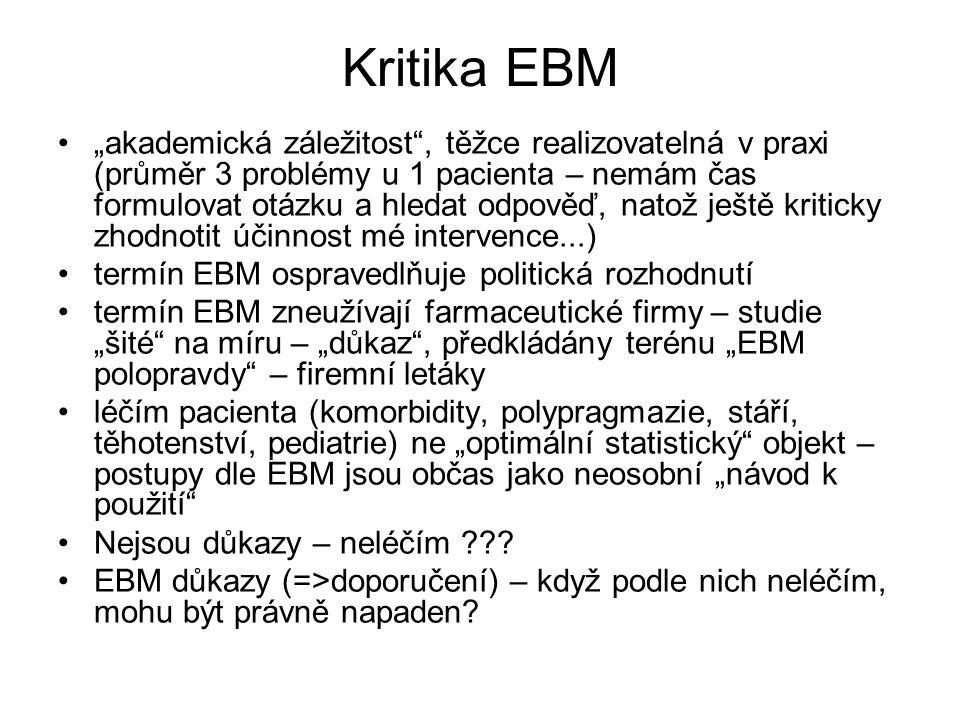 """Kritika EBM """"akademická záležitost"""", těžce realizovatelná v praxi (průměr 3 problémy u 1 pacienta – nemám čas formulovat otázku a hledat odpověď, nato"""