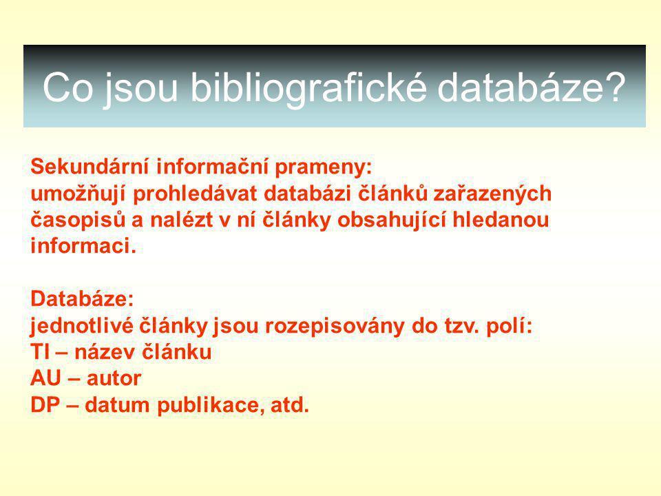 Co jsou bibliografické databáze.