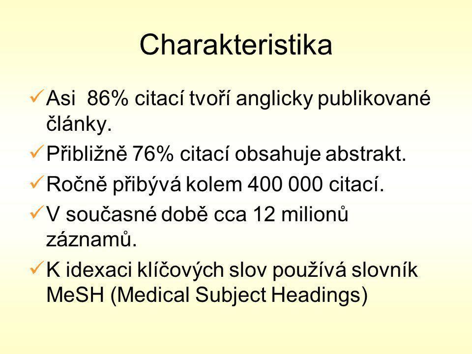 Charakteristika Asi 86% citací tvoří anglicky publikované články.