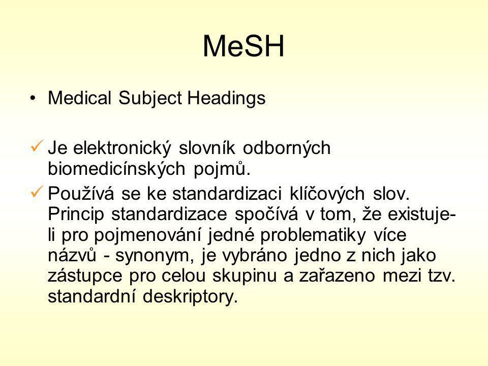 MeSH Medical Subject Headings Je elektronický slovník odborných biomedicínských pojmů.