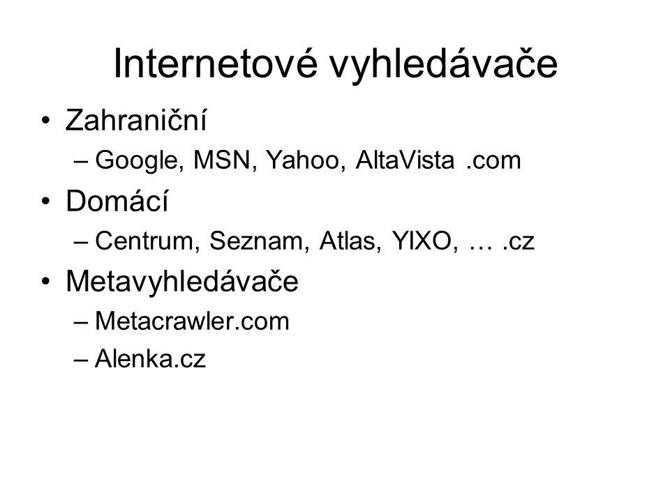 Internetové vyhledávače Zahraniční –Google, MSN, Yahoo, AltaVista.com Domácí –Centrum, Seznam, Atlas, YIXO, ….cz Metavyhledávače –Metacrawler.com –Ale