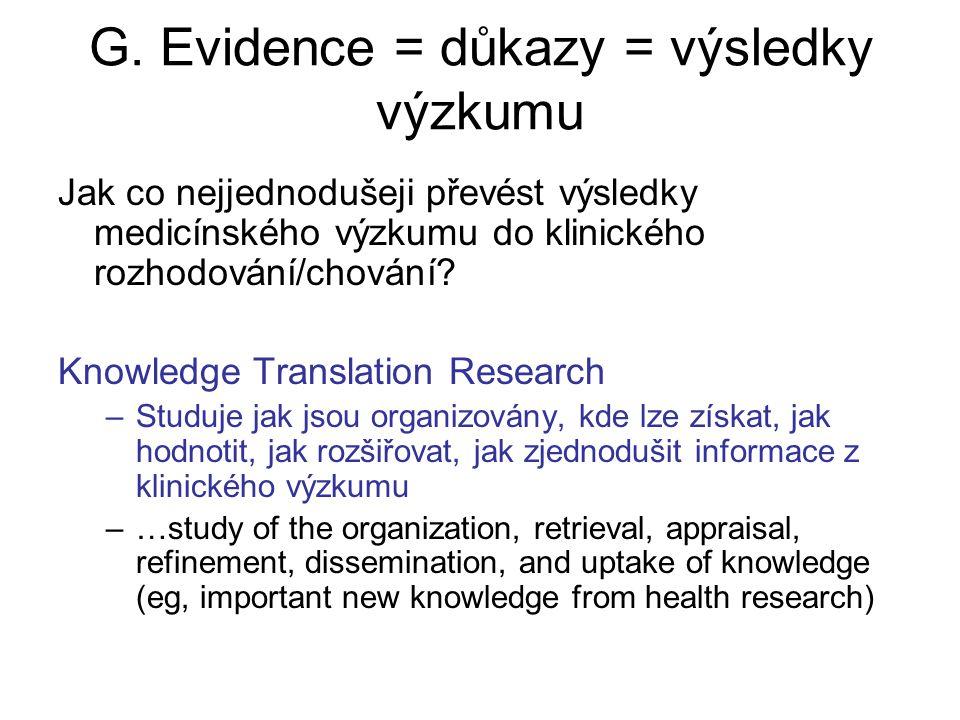 G. Evidence = důkazy = výsledky výzkumu Jak co nejjednodušeji převést výsledky medicínského výzkumu do klinického rozhodování/chování? Knowledge Trans