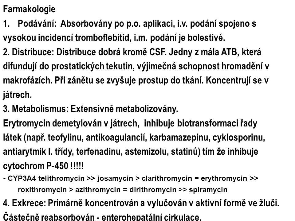 Farmakologie 1.Podávání: Absorbovány po p.o. aplikaci, i.v. podání spojeno s vysokou incidencí tromboflebitid, i.m. podání je bolestivé. 2. Distribuce