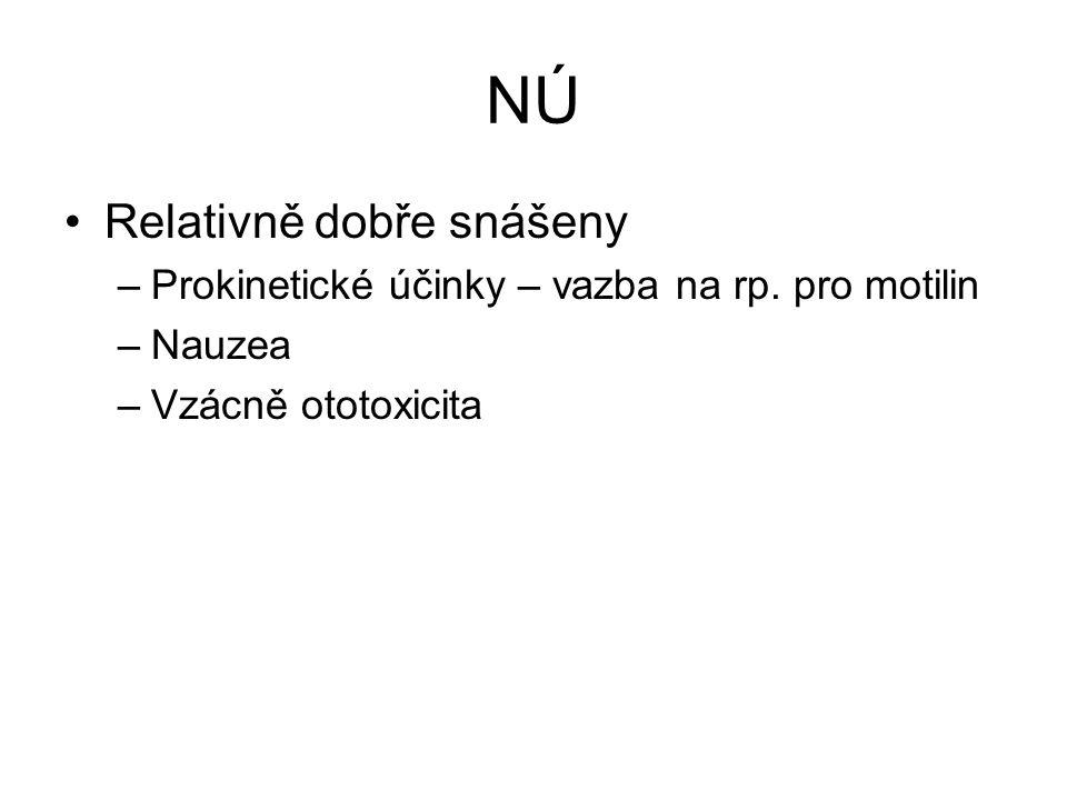 NÚ Relativně dobře snášeny –Prokinetické účinky – vazba na rp. pro motilin –Nauzea –Vzácně ototoxicita