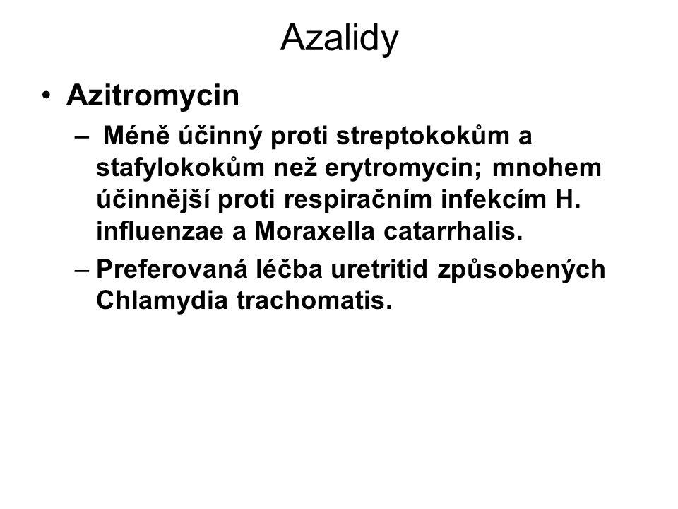 Azalidy Azitromycin – Méně účinný proti streptokokům a stafylokokům než erytromycin; mnohem účinnější proti respiračním infekcím H. influenzae a Morax