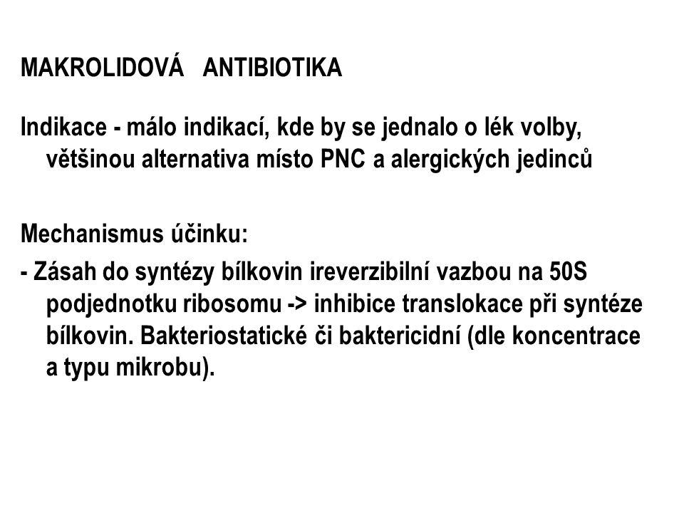 MAKROLIDOVÁ ANTIBIOTIKA Indikace - málo indikací, kde by se jednalo o lék volby, většinou alternativa místo PNC a alergických jedinců Mechanismus účin