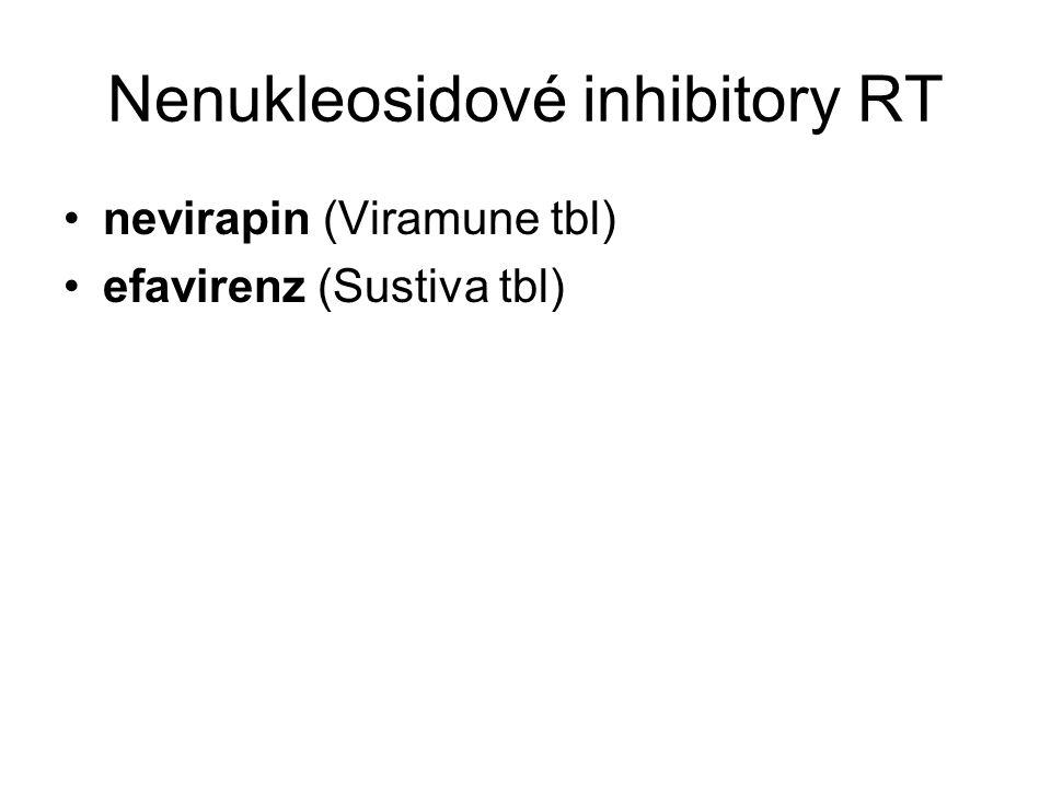 Nenukleosidové inhibitory RT nevirapin (Viramune tbl) efavirenz (Sustiva tbl)
