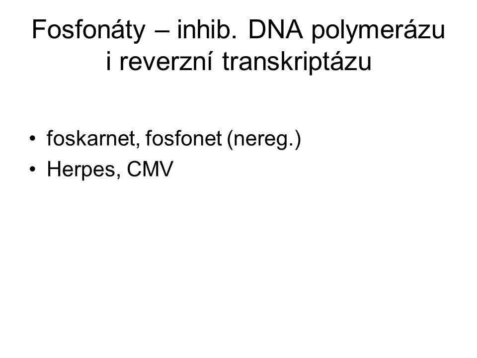Fosfonáty – inhib. DNA polymerázu i reverzní transkriptázu foskarnet, fosfonet (nereg.) Herpes, CMV