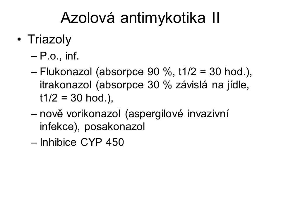 Azolová antimykotika II Triazoly –P.o., inf. –Flukonazol (absorpce 90 %, t1/2 = 30 hod.), itrakonazol (absorpce 30 % závislá na jídle, t1/2 = 30 hod.)