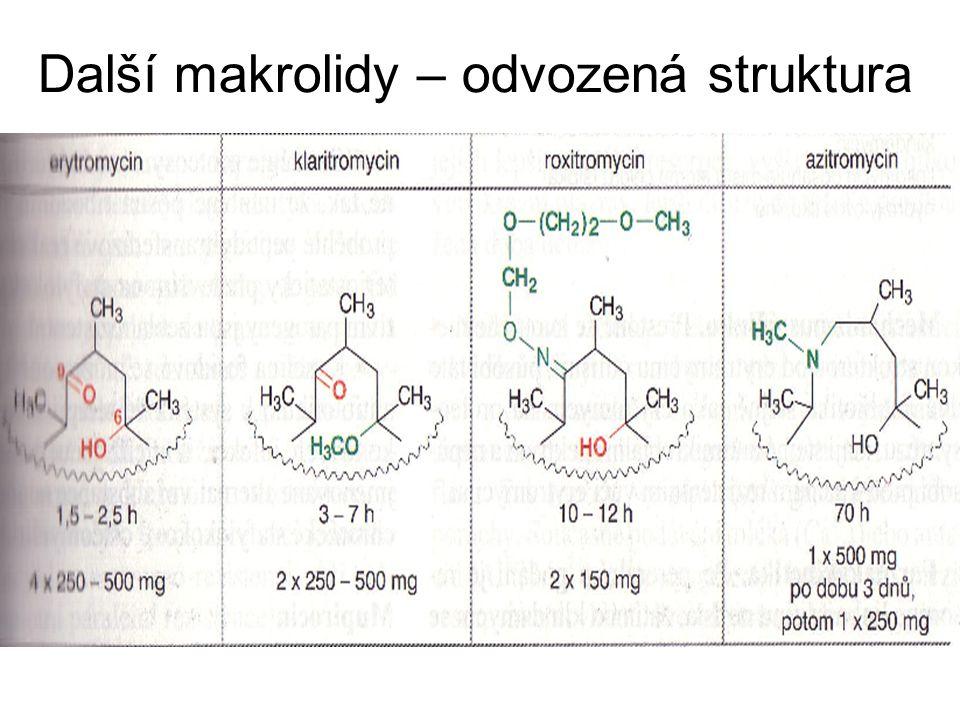 Další makrolidy – odvozená struktura