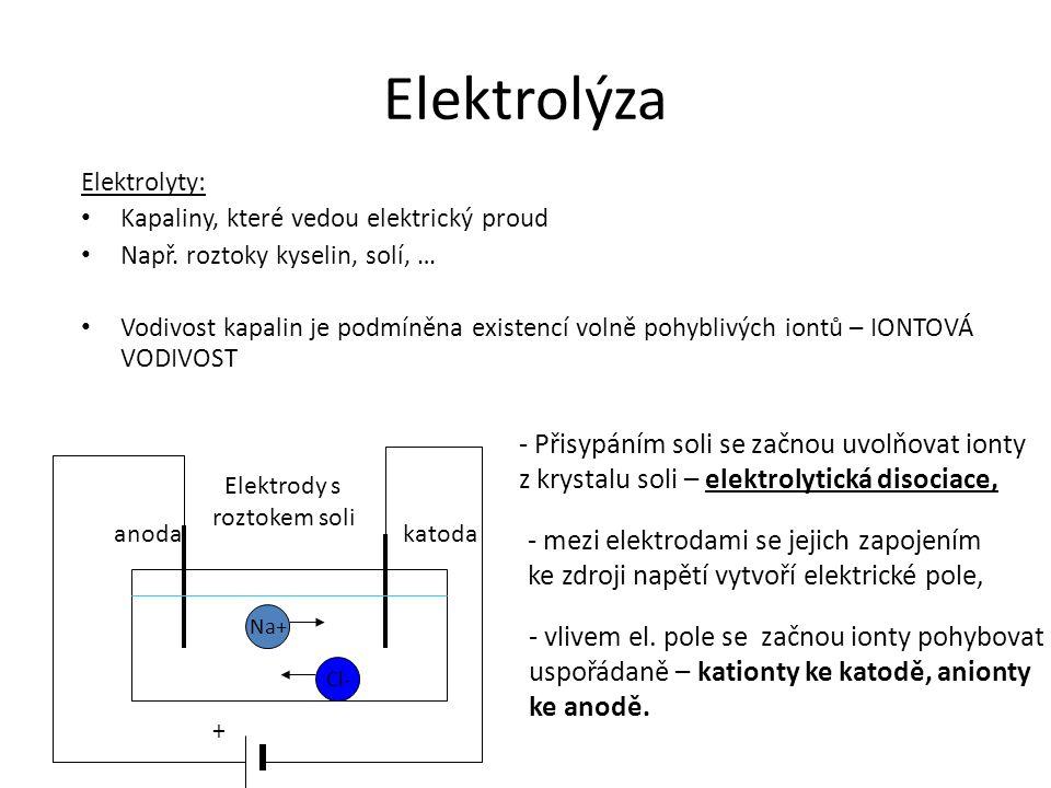 Elektrolýza Elektrolyty: Kapaliny, které vedou elektrický proud Např. roztoky kyselin, solí, … Vodivost kapalin je podmíněna existencí volně pohyblivý
