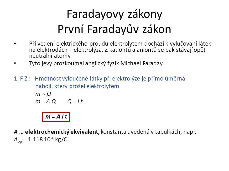 Faradayovy zákony První Faradayův zákon Při vedení elektrického proudu elektrolytem dochází k vylučování látek na elektrodách – elektrolýza. Z kationt