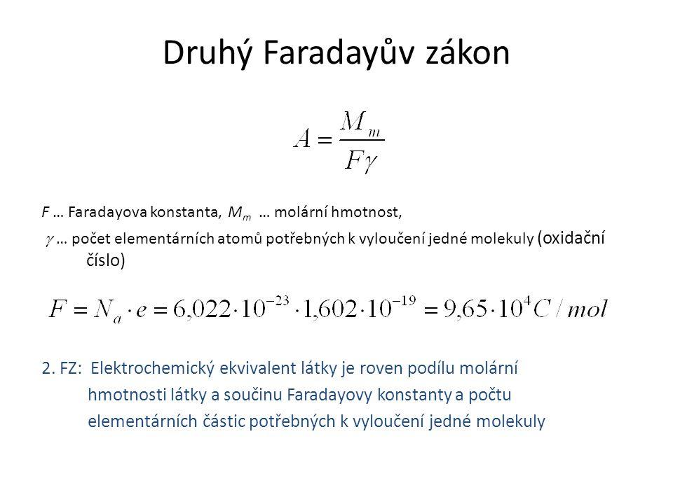 Druhý Faradayův zákon F … Faradayova konstanta, M m … molární hmotnost,  … počet elementárních atomů potřebných k vyloučení jedné molekuly (oxidační
