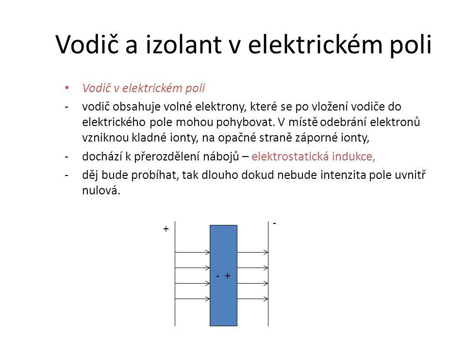 Izolant (dielektrikum) v elektrickém poli -dielektrika neobsahují volné elektrony, -dochází k deformaci atomů, jádra se přesouvají ve směru siločar, záporné elektronové obaly v opačném směru, -z atomů se stávají elektrické dipóly, -atomová polarizace dielektrika.