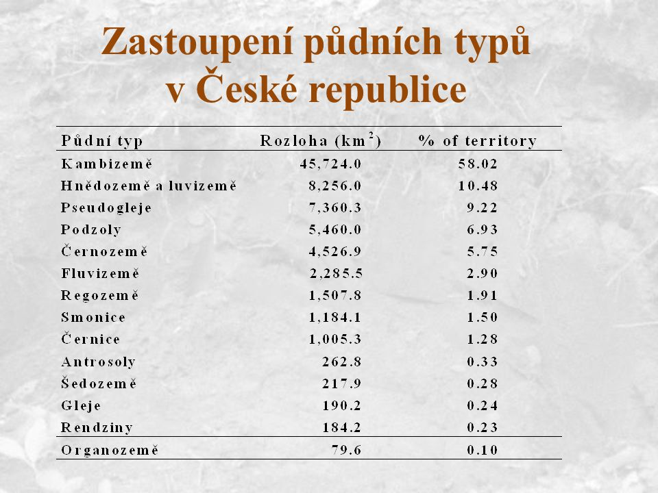 Zastoupení půdních typů v České republice