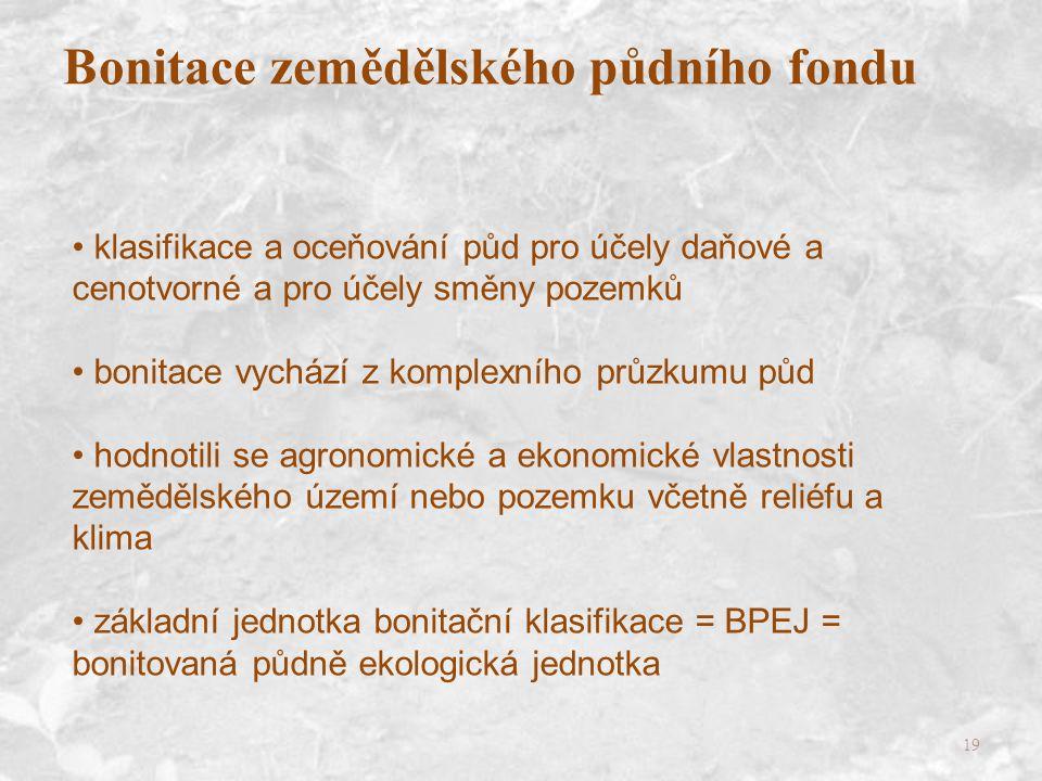 19 klasifikace a oceňování půd pro účely daňové a cenotvorné a pro účely směny pozemků bonitace vychází z komplexního průzkumu půd hodnotili se agronomické a ekonomické vlastnosti zemědělského území nebo pozemku včetně reliéfu a klima základní jednotka bonitační klasifikace = BPEJ = bonitovaná půdně ekologická jednotka Bonitace zemědělského půdního fondu