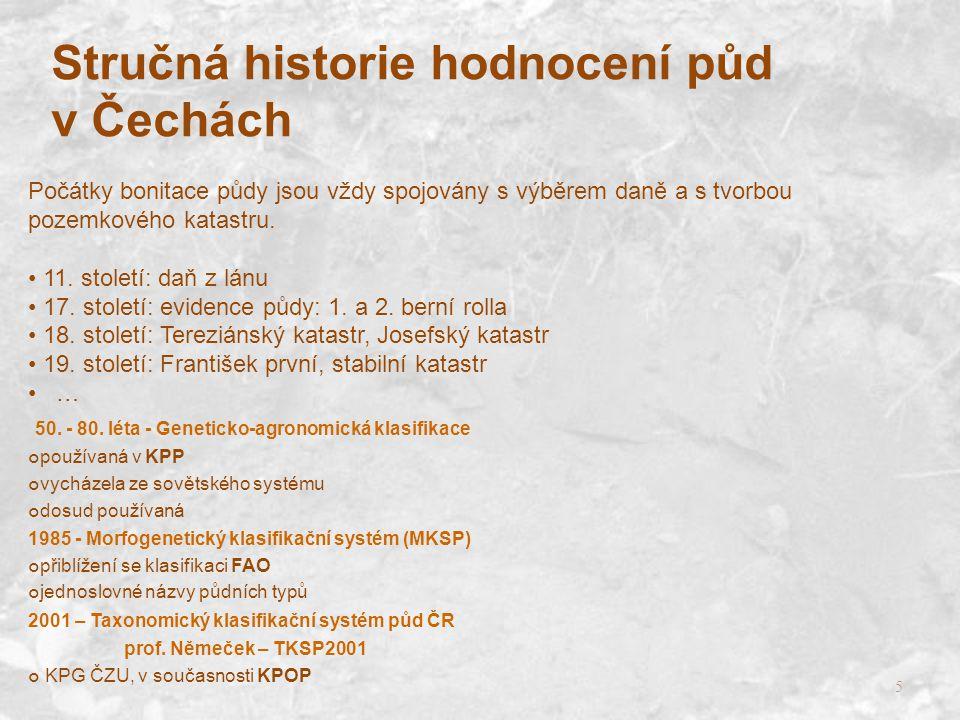 5 Stručná historie hodnocení půd v Čechách Počátky bonitace půdy jsou vždy spojovány s výběrem daně a s tvorbou pozemkového katastru. 11. století: daň