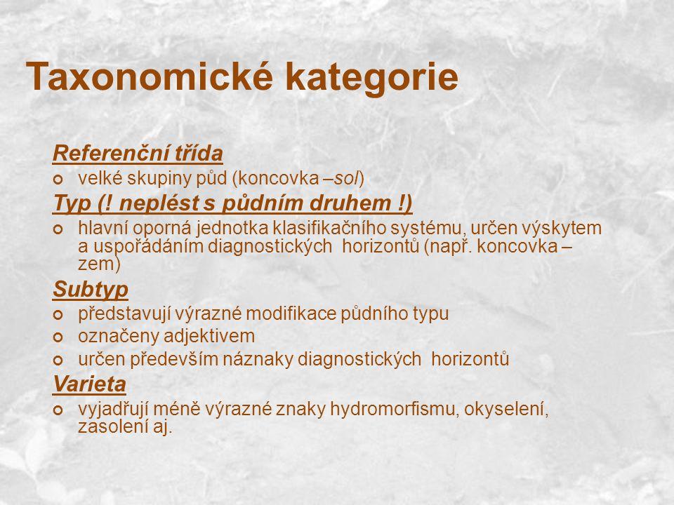 Taxonomické kategorie Referenční třída velké skupiny půd (koncovka –sol) Typ (! neplést s půdním druhem !) hlavní oporná jednotka klasifikačního systé