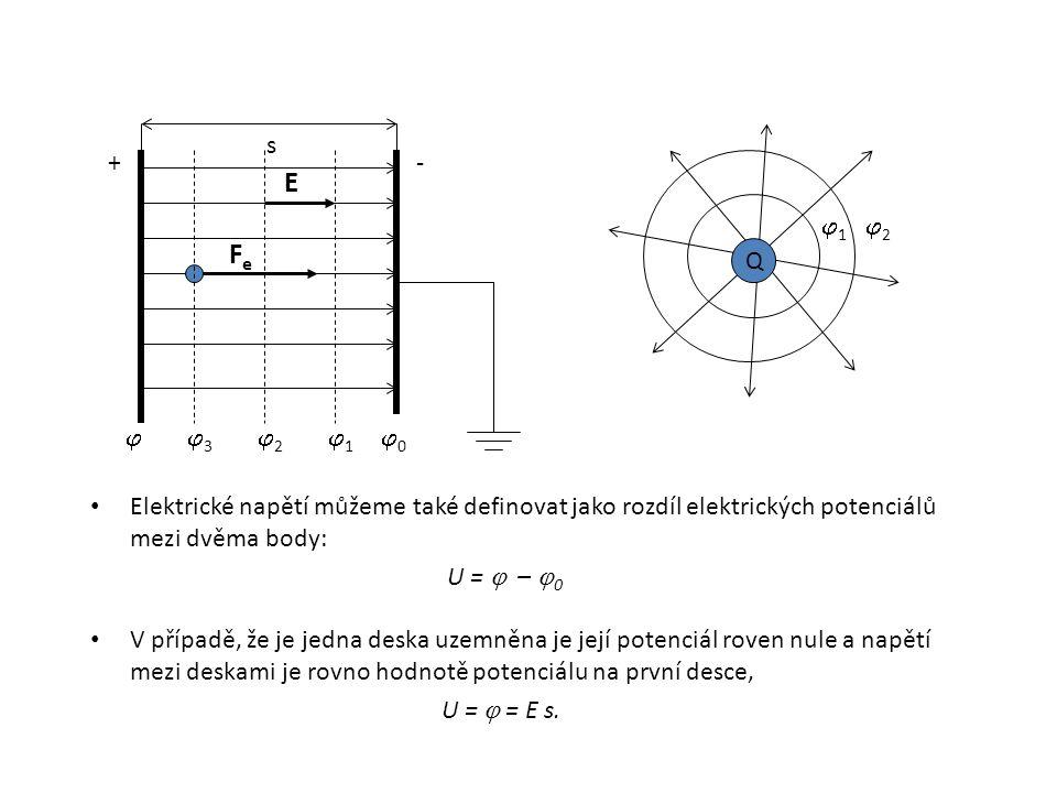 Elektrické napětí můžeme také definovat jako rozdíl elektrických potenciálů mezi dvěma body: U =  –  0 V případě, že je jedna deska uzemněna je její