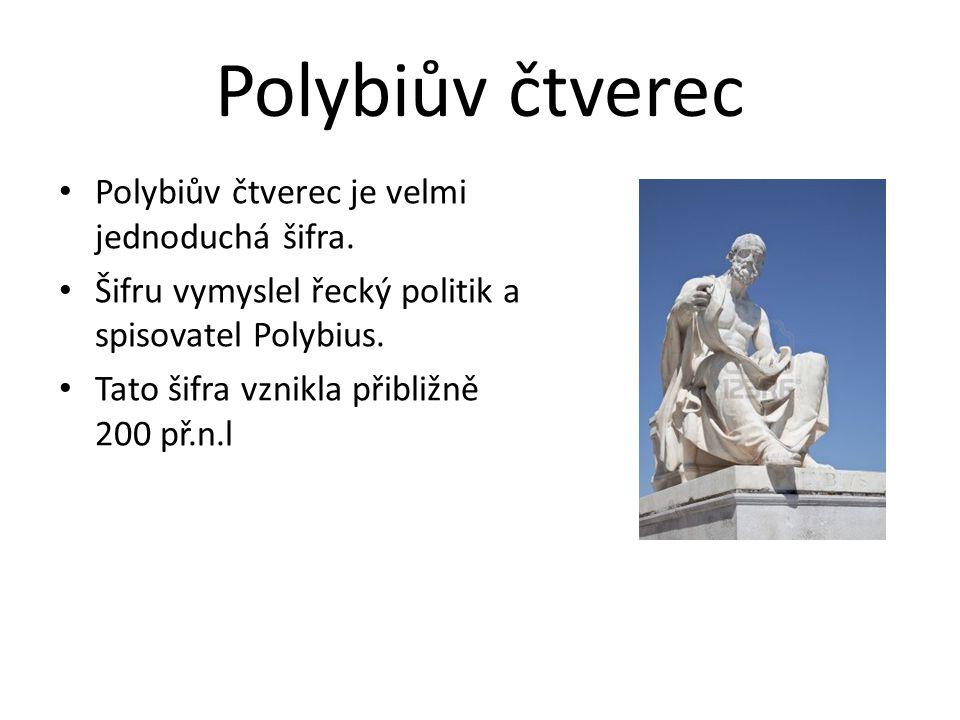 Polybiův čtverec Polybiův čtverec je velmi jednoduchá šifra. Šifru vymyslel řecký politik a spisovatel Polybius. Tato šifra vznikla přibližně 200 př.n